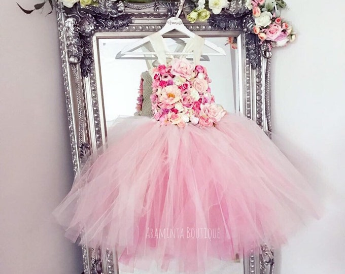 Girls PRIMROSE flowergirl tutu dress, Unicorn tutu dress, pink flower tutu dress.Fairy tutu costume. Bridesmaid,Birthday tutu, princess tutu