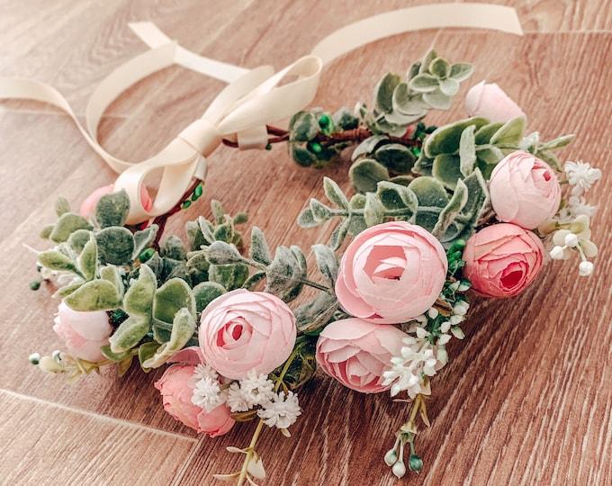 Pastel pink flower crown, eucalyptus leaf crown, gypsophila crown, flowergirl and bridesmaid floral headpiece