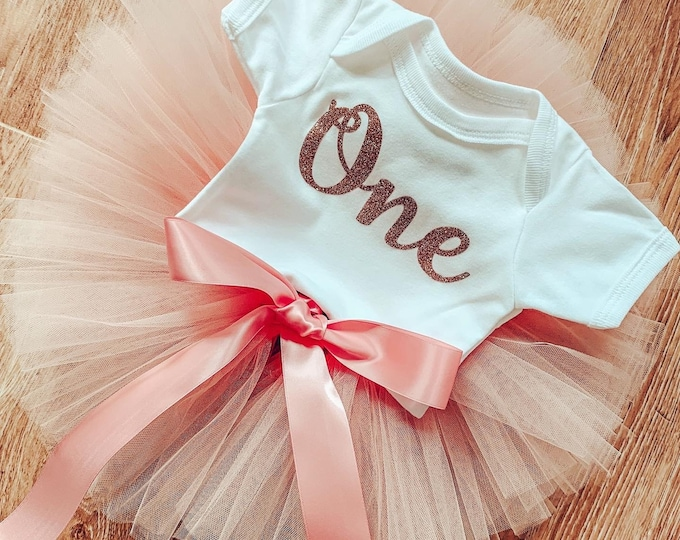 Peach & rose gold cakesmash tutu set, first birthday tutu skirt and romper set, first birthday outfit, photoshoot costume