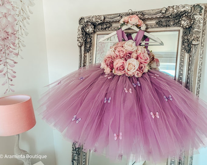 Girls IRIS BUTTERFLY flower tutu dress, flower bodice, mauve dusty pink flower tutu dress.Fairy tutu costume. Bridesmaid & flowergirl dress
