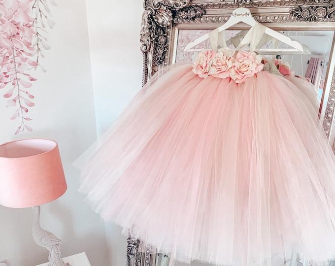 Girls VALENTINA flowergirl pink tutu dress, Rose tutu dress, bridesmaid blush pink tutu, fairy tutu, flower girl tutu, fairy costume