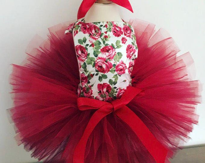 Floral baby romper and tutu set, easter baby, baby romper, baby outfit, red tutu, baby set, cakesmash outfit, first birthday