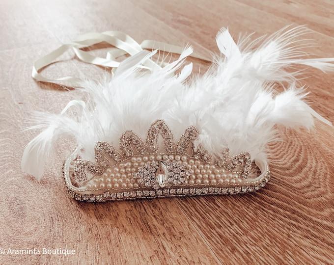 Vintage style flapper headband, feather and pearl headband, Christmas diamante headband, sparkle headdress, 20s headband, photoprop
