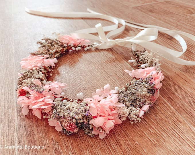 Dried pink and white flower crown, gypsophila headpiece wreath, flower girl and bridesmaid crown, autumn winter fall crown