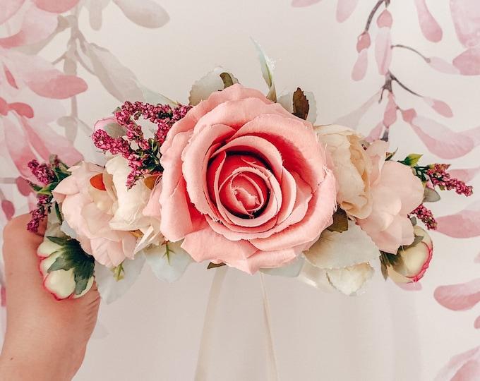 Rose IRIS flower crown, pink and mauve flower crown, spring flower crown, floral headband, flowergirl headband, floral headpiece, brides