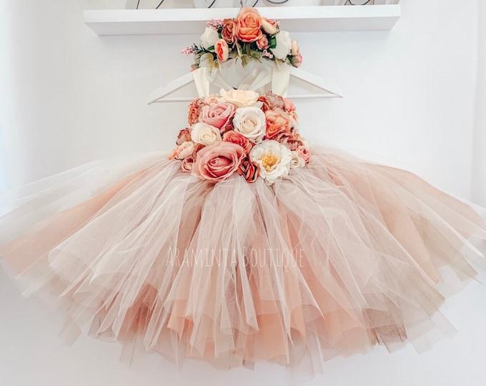 Girls MABEL flowergirl tutu dress, Rose Gold tutu dress, flower tutu dress.Fairy tutu costume. Bridesmaid,Birthday tutu, princess tutu
