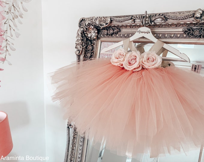 Girls PEACHES flowergirl peach tutu dress, rose tutu dress, fairy tutu dress, bridesmaid & flowergirl dress, cakesmash outfit, party dress