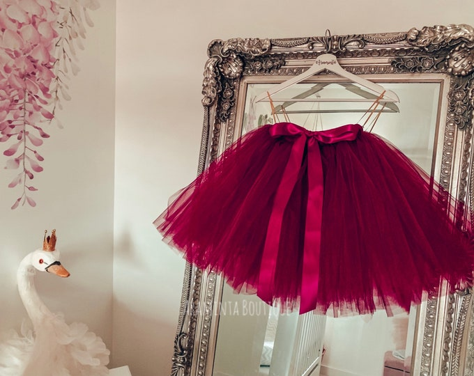 Girls tutu, tutu skirt, flowergirl tutu, bridesmaid tutu, wedding tutu, birthday tutu, cakesmash tutu, burgundy tutu