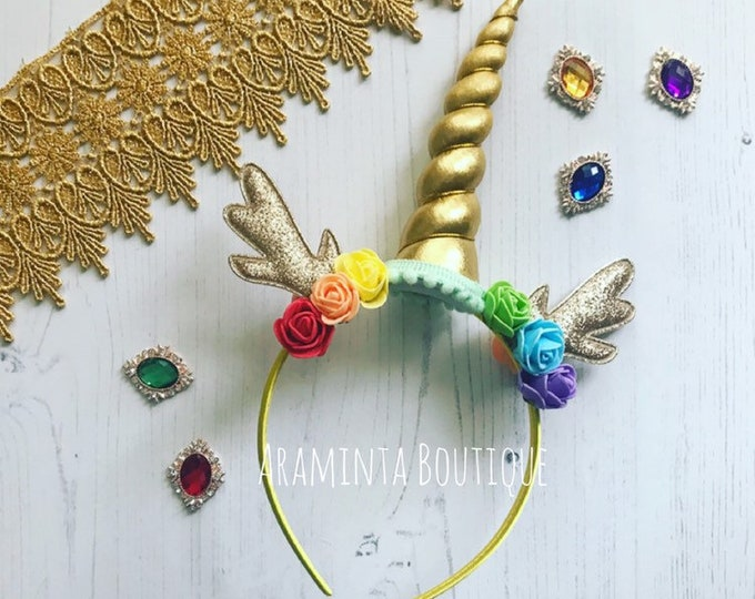 Unicorn Christmas headband, reindeer headband, unicorn christmas, antler headband,gold reindeer headband, stocking filler,christmas headband