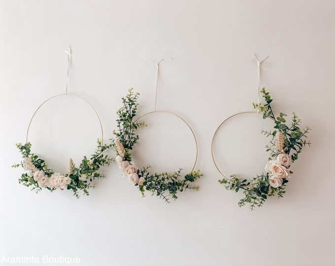Floral hoop wall hanging, eucalyptus and white flower decoration, nursery decor, flowergirl flower hoop, bridesmaid floral bouquet