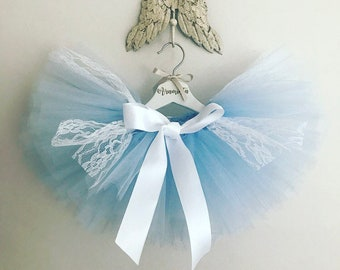 Blue Tutu Skirt, Girls Tutu, Lace Tutu, Blue and White Tutu, Cakesmash Tutu, Girls Birthday Outfit, Extra Fluffy Tutu