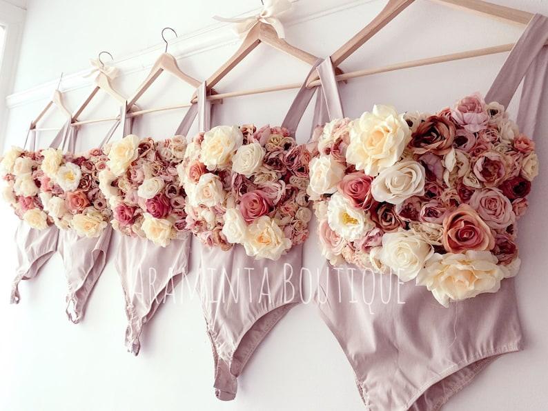 fairy costume maid of honor flower bodice floral top peach bodysuit AUTUMN Floral bodysuit bridesmaid bodice