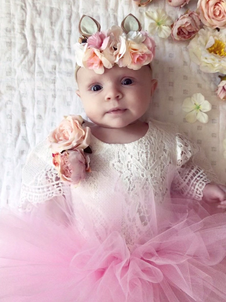 9c2c4263ac0 Baby and toddler lace flower romper pink flower romper