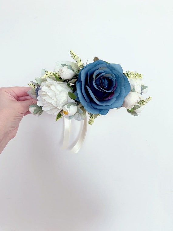 The White and Blue Roses Goddess Floral Crown
