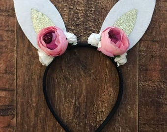 Bunny ears, rabbit ears, bunny outfit, easter bunny ears, bunny headband, rabbit headband, flower headband with ears