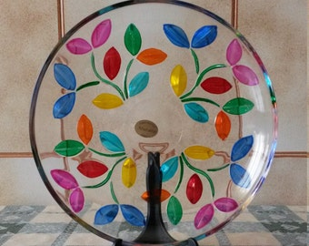 murano glass hand painted decorative plate diameter 17.5 cm-made in Italy, art glass, Venice, gift