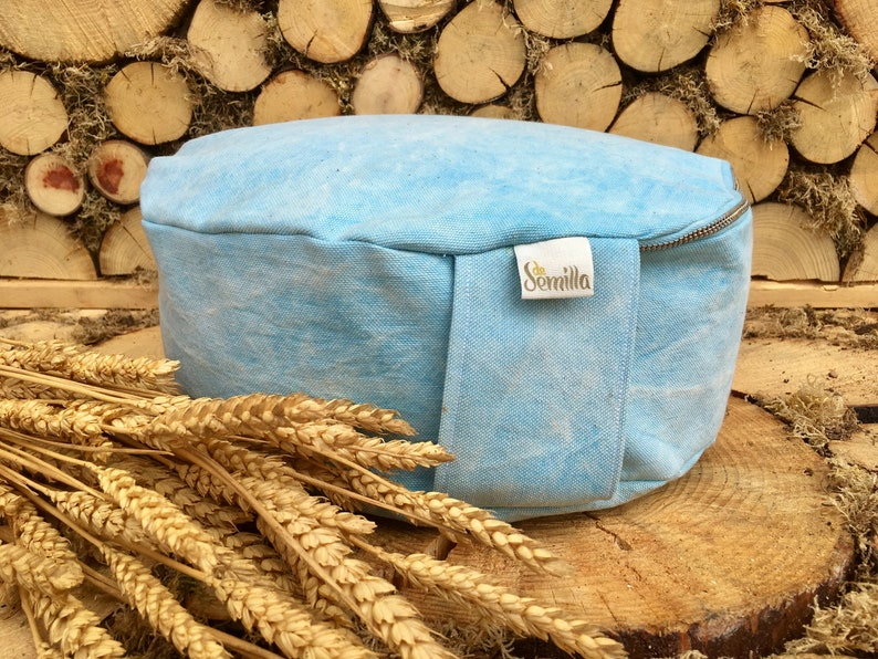 Zafu azul algodón orgánico relleno espelta meditación yoga image 0