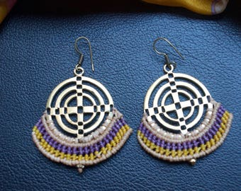 Macrame Earrings. Sacred Geometry Earrings. Colorful Earrings. Medium Hoop Earrings. Tribal Earrings. Yellow and Purple Earrings.