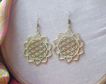 Sacred Geometry Earrings. Mandala Earrings. Spiritual Jewelry. Large Hoop Earrings.