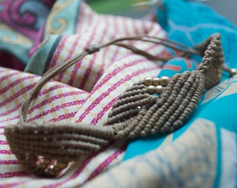 Simple Macrame Bracelet, Ankle Bracelet, Neutral Macrame Bracelet