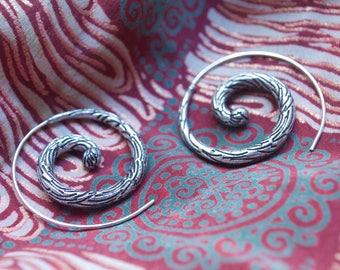 Spiral Earrings. Snake Earrings. Spiral Snake Earrings. Tribal Earrings. Unique Earrings.