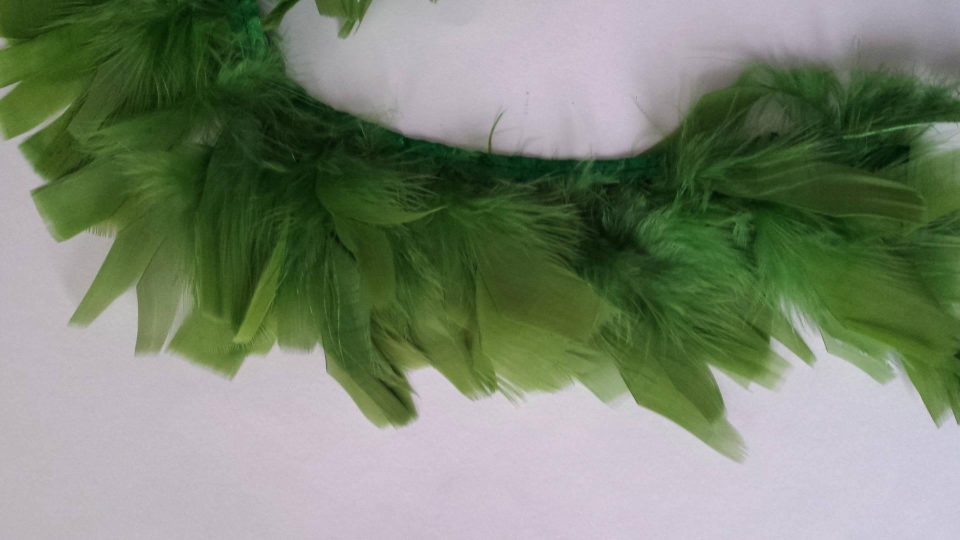 Galon plumes de coq au mètre cm 8/10 cm mètre vert 28d610