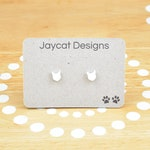 Cat Earrings, Tiny Cat Earrings, White Cat Earrings, Cat Stud Earrings, Tiny Earrings,