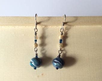Tropical, Ocean Theme Earrings, Mother of Pearl, Gift for Her, Handmade ear wires