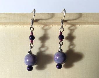Purple Dangle Earrings, Gift for Her, Polymer clay, Handmade ear wires