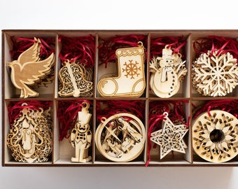 Wooden Christmas Decoration // Christmas tree // Ornaments // Decorations // Eco friendly // Laser cut // Stars // Snowflakes // Toy soldier