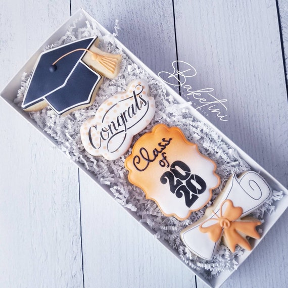Graduation Cookie Gift Set | 4pc Gift Box | Congratulations | High School Graduation | College | University | Graduation Gift | Senior Gift