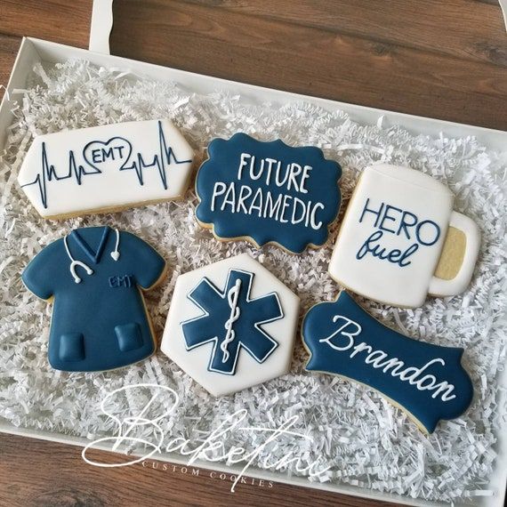 EMT Cookie 6pc Gift Set | Paramedic in Training Gift Box | Fire and Rescue Emergency Services Police Academy | First Responders Thank You