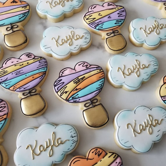 Hot Air Balloon Cookies 2 Dozen   Cloud Cookies   Places You Go   Up Up Away   Adventure Awaits   Oh Baby Shower Birthday Graduation