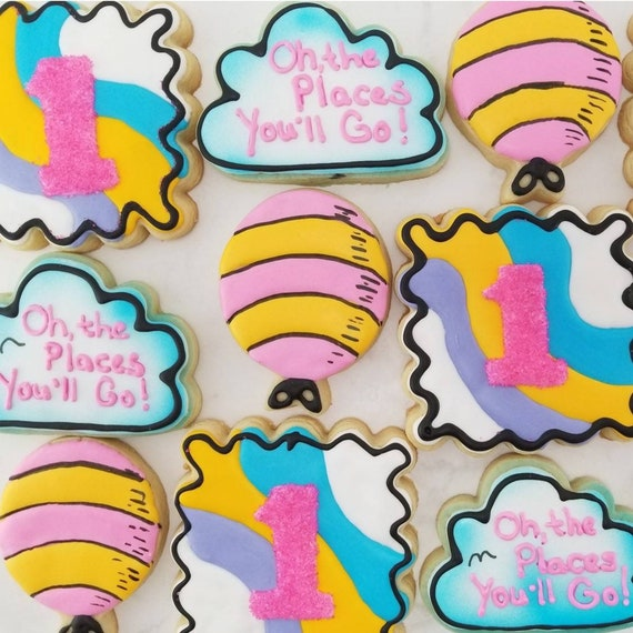 Cartoon Cloud Balloon Cookies 2 Dozen   Childrens Story Book   Dr First Birthday Party   Oh Baby Shower   Graduation   Places You'll Go