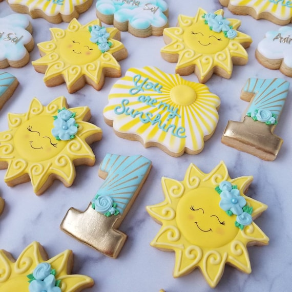 You Are My Sunshine Cookies 2 Dozen   First Birthday   Happy Yellow Sun   Cookies   Pool Beach Vacation   Sunburst Golden Yellow