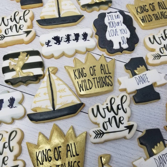 Wild Thing Cookies 2 Dozen   Inspired by Where the Wild Things Are   Tribal Sailboat Gold King Crown   Wild One First Birthday   Baby Shower