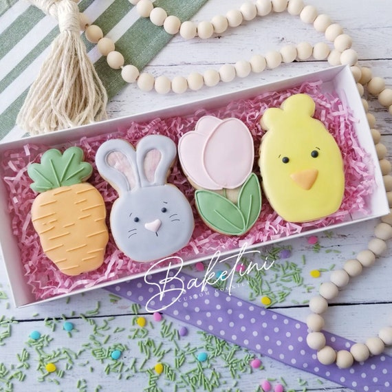 Easter Cookie 4 Piece Gift Set | Bunny Carrot Flower Spring Chick | Easter Basket Gift Box | Rabbit | Some Bunny Loves You