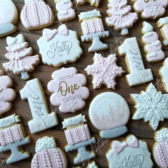 Winter ONEderland Cookies 2 Dozen   First Birthday   Little Snowflake   Baby It's Cold Outside   Winter Wonderland Pink Gold Silver