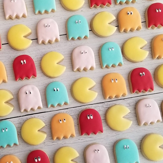 80s Video Game Mini Cookies 3 Dozen   Pac Man Inspired Cookies   Totally 80s Party   Retro Video Game Ghost   Kids Birthday Party Favors