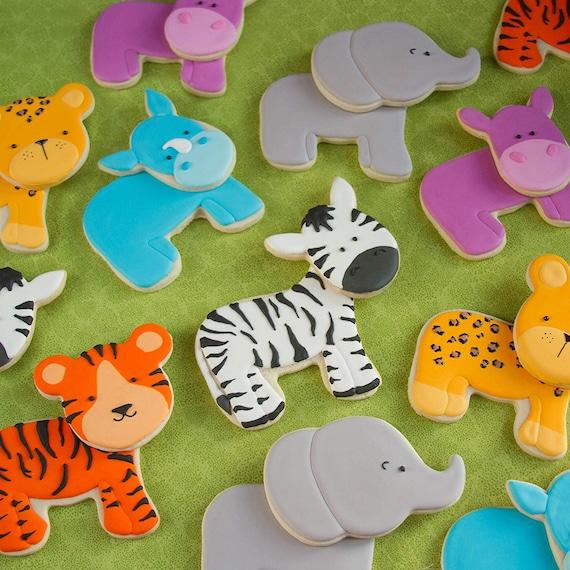 Safari Animal Cookies   Zoo Animals   XLARGE 2pc Animals   Baby Shower   Jungle Safari   Zebra Hippo Elephant Rhino Tiger Cheetah   Birthday