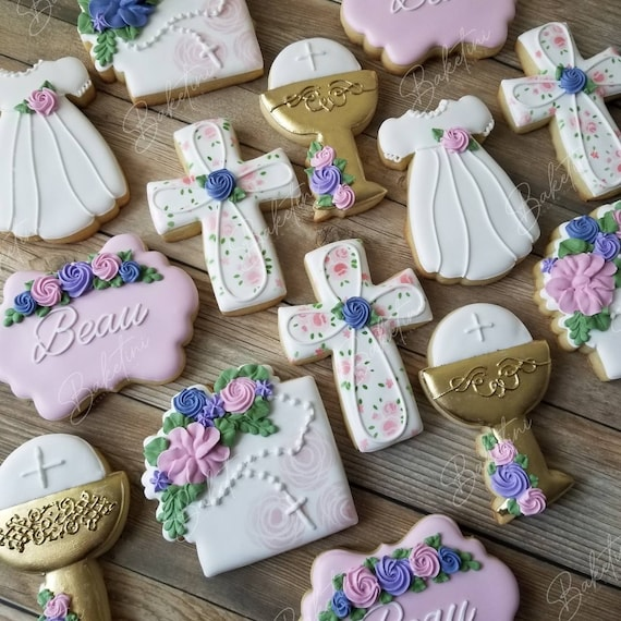 First Communion Cookies | Floral Rosary Holy Cross Chalice Dress | Christening | Baptism | Blessed Baby | Personalized