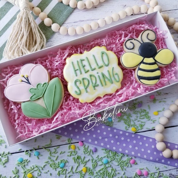 Hello Spring Cookie 3 Piece Gift Set | Spring Flower Bee | Easter Cookies Gift Box | Happy Birthday  | Mother's Day | Thank You