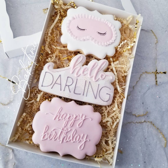 Hello Darling Cookie Gift Box | Glam Spa Gift Set | Happy Birthday | Sweet 16 18th 30th 40th 50th 60th | Pink Gold Lavender | Pamper Party