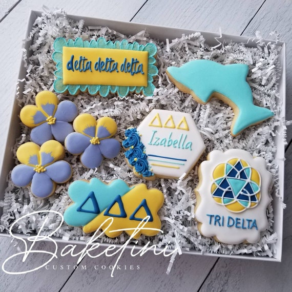 Sorority Cookies Gift Set | College Care Package | Custom Cookie Gift Box | Greek Week Pledge Graduation Reunion | Sister Dolphin Pansy |