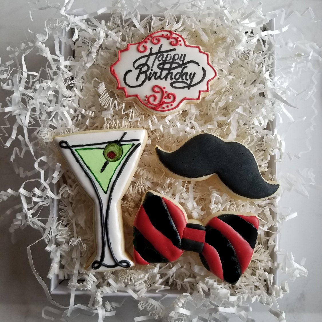 Classic Martini Birthday Cookie Gift Set