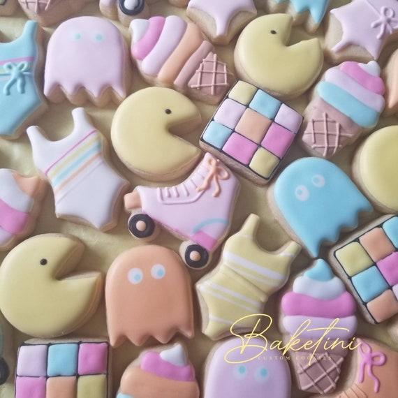 Retro 80s Mini Cookies 3 Dozen   Totally 80s Party   Video Game Cube Pac Ghost Man Roller Skates Ice Cream Cones   1980s Neon Birthday 70s