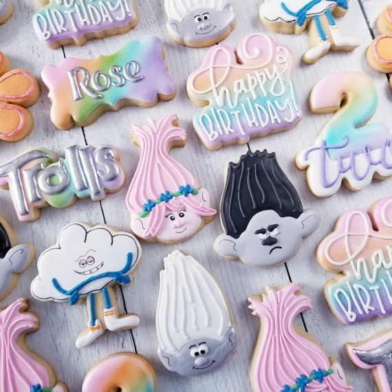Troll Inspired Cookies 2 Dozen   Rainbow Birthday Cookies   2nd 3rd 4th 5th 6th 7th Birthday Party Favors