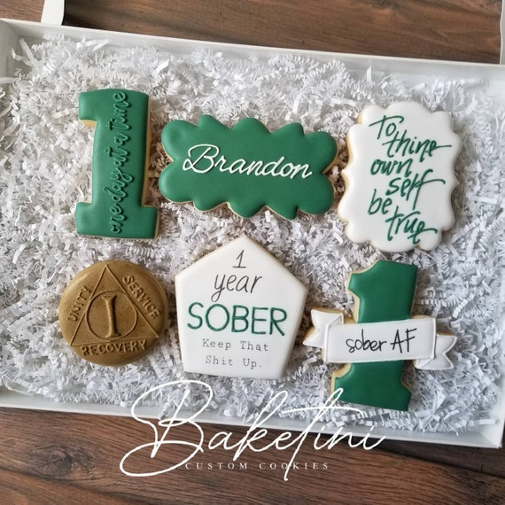 Sober AF Cookie 6pc Gift Set | Sober Anniversary Gift Box |  Sobriety Support Encouragement Recovery Care AA To Thine Own Self Be True