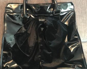 The Many Moods of Poppie Jones Handbag Purse Patent Leather Velvet Bow