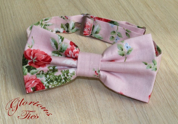 Ring Bearer Bow Ties Toddler Tie Kids Tie Blush Roses Boy/'s Blush Bow Tie Blush Pink Wedding Accessories for Groomsmen Infant Bow Ties
